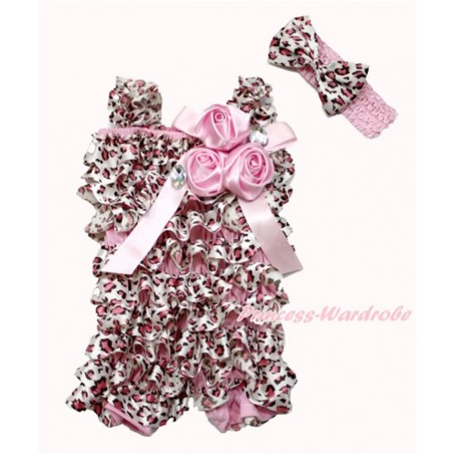 Light Pink Leopard Satin Petti Romper with Light Pink Bow & Straps & Bunch of Light Pink Satin Rosettes & Crystal With Light Pink Headband Light Pink Leopard Satin Bow 2pc Set RH143