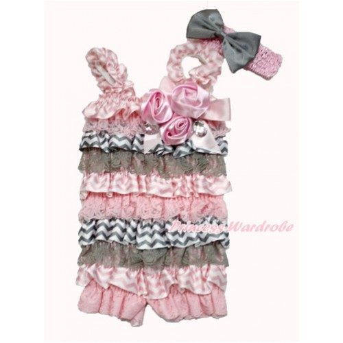 Light Pink Grey White Chevron Satin Petti Romper with Light Pink Bow & Straps & Bunch of Light Pink Satin Rosettes & Crystal With Light Pink Headband Grey Satin Bow 2pc Set RH144