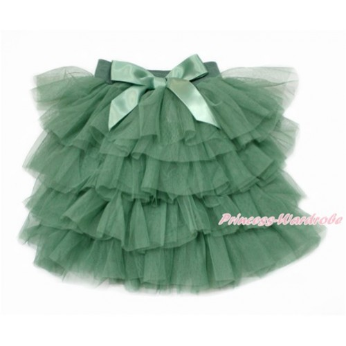Army Green Chiffon Tiered Layer Skirt Dress B258