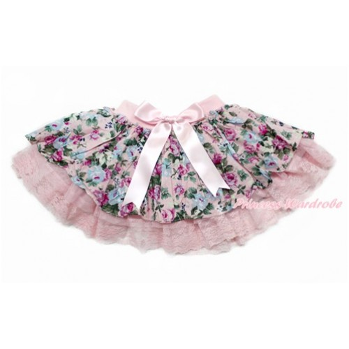 Light Pink Bow Peony Flower Lace Skirt Dress B259