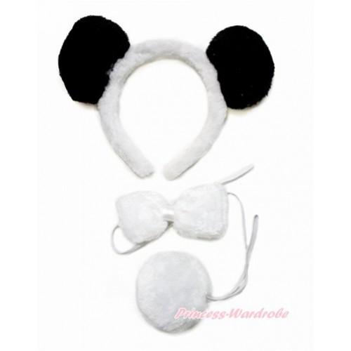 Black White Panda 3 Piece Set in Headband, Tie, Tail PC074