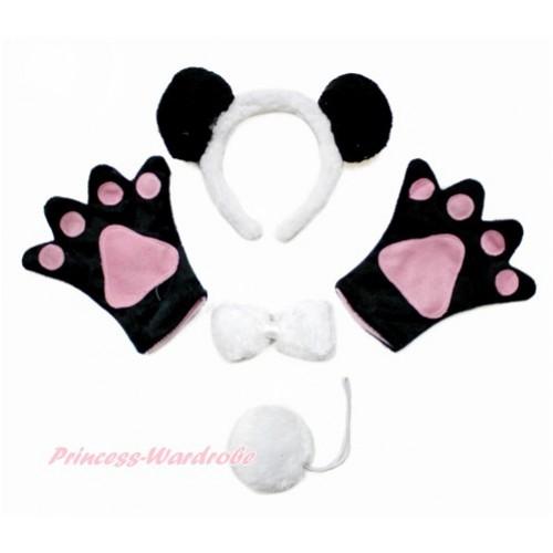 Black White Panda 4 Piece Set in Headband, Tie, Tail , Paw PC076