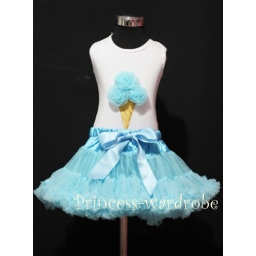 Light Blue Pettiskirt With Light Blue Ice Cream White Tank Top MS106