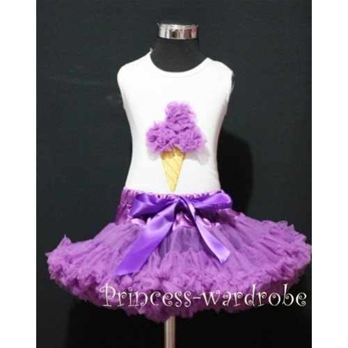 Dark Purple Pettiskirt With Dark Purple Ice Cream White Tank Top MS108