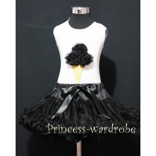 Black Pettiskirt With Black Ice Cream White Tank Top MS111