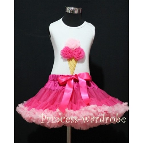 Hot Light Pink Pettiskirt With Hot Light Pink Ice Cream White Tank Top MS114