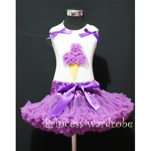 Dark Purple Pettiskirt With Dark Purple Ice Cream White Tank Top with Bows MS208
