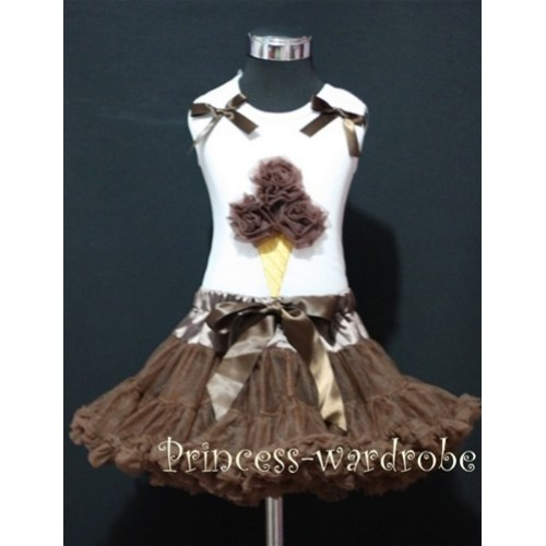 Brown Pettiskirt With Brown Ice Cream White Tank Top with Bows MS210
