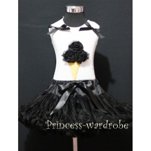 Black Pettiskirt With Black Ice Cream White Tank Top with Bows MS211