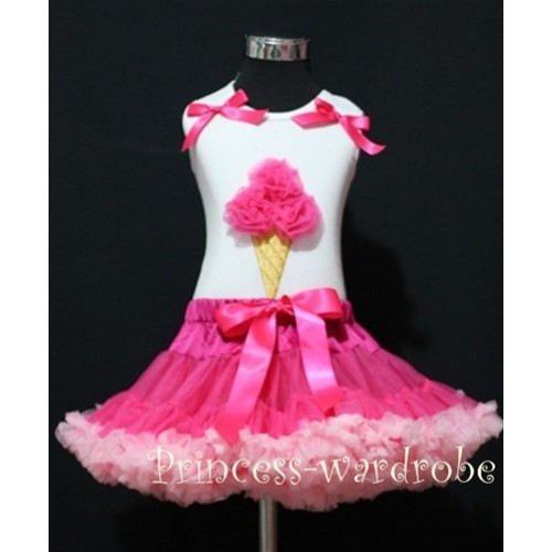 Hot Light Pink Pettiskirt With Hot Pink Ice Cream White Tank Top with Bows MS213