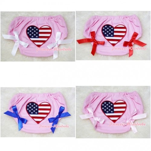 Light Pink Bloomers & Patriotic America Flag Heart & Various Bow BL42