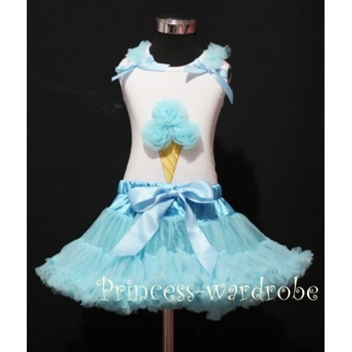 Light Blue Pettiskirt With Light Blue Ice Cream White Tank Top with Light Blue Ruffles &Bow MS306