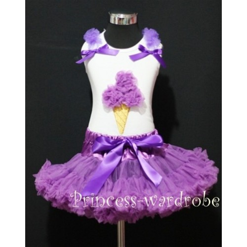 Dark Purple Pettiskirt With Dark Purple Ice Cream Tank Top with Bows and Ruffles MS308