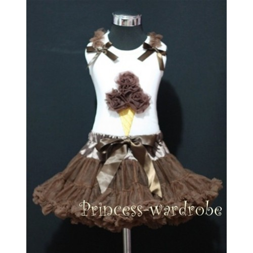 Brown Pettiskirt With Brown Ice Cream White Tank Top with Brown Ruffles &Bow MS310