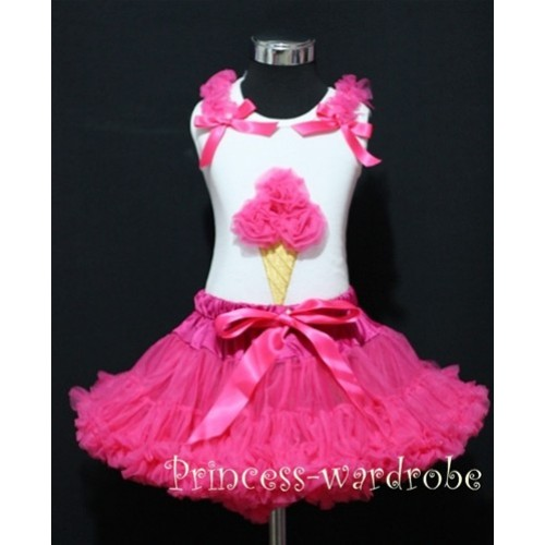 Hot Pink Pettiskirt With Hot Pink Ice Cream White Tank Top with Hot Pink Bows and Ruffles MS312