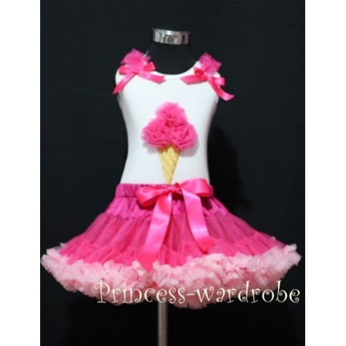Hot Light Pink Pettiskirt With Hot Pink Ice Cream White Tank Top with Bows and Ruffles MS313