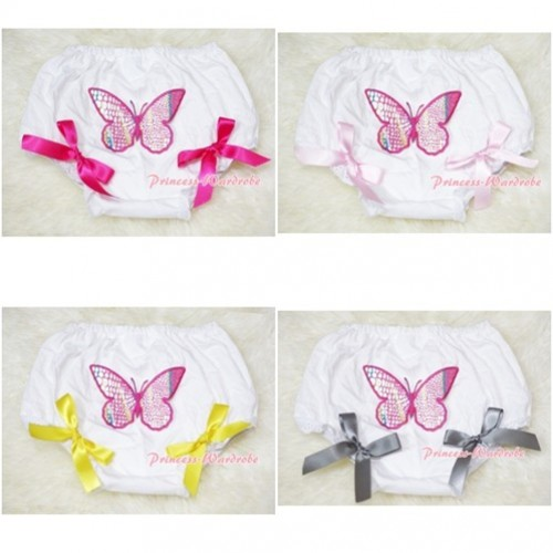 White Bloomers & Rainbow Butterfly & Bow BL47