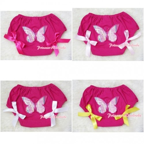 Hot Pink Bloomers & Rainbow Butterfly & Bow BL49