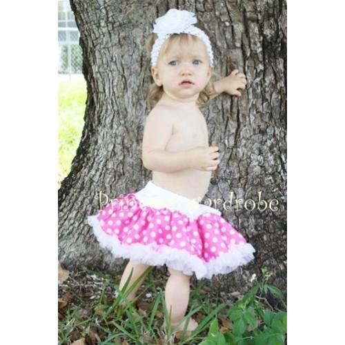 Hot Pink White Polka Dots New Born Pettiskirt  N38