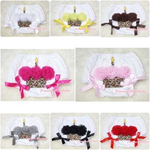 White Bloomer & Leopard Cupcake & Bow BL53