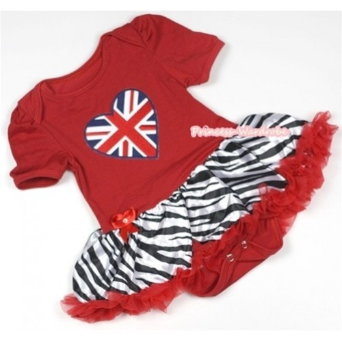 Red Baby Jumpsuit Red Zebra Pettiskirt with Patriotic British Heart Print JS647
