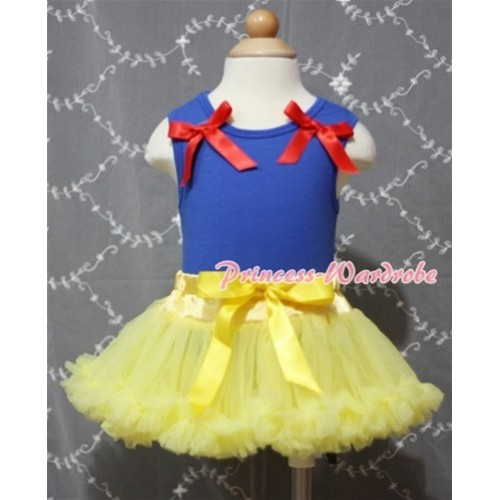 (Snow White Style)Royal Blue Baby Pettitop & Red Bows with Yellow Baby Pettiskirt BG30