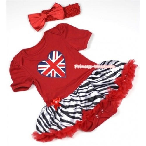Red Baby Jumpsuit Red Zebra Pettiskirt With Patriotic British Heart Print With Red Headband Red Satin Bow JS686
