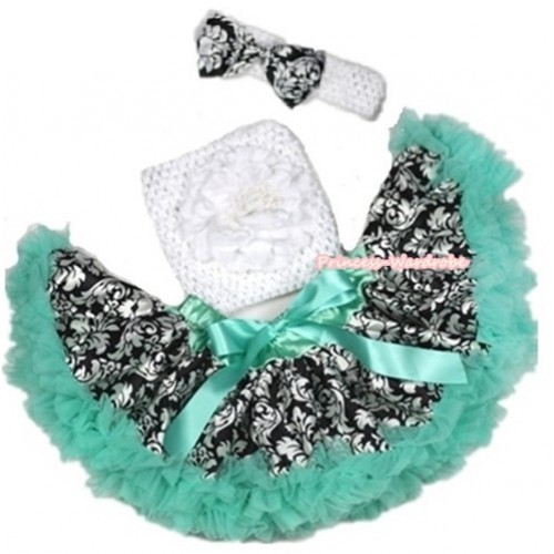 Aqua Blue Damask Baby Pettiskirt, White Peony & White Crochet Tube Top,White Headband with Damask Satin Bow 3PC Set CT564