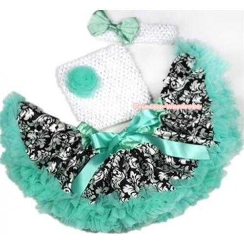 Aqua Blue Damask Baby Pettiskirt, Aqua Blue Rosettes& White Crochet Tube Top,White Headband with Aqua Blue Satin Bow 3PC Set CT565