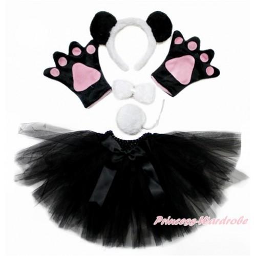 Black White Panda 4 Piece Set in Headband, Tie, Tail , Paw With Black Skirt PC078