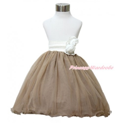 White Pearl Satin Rose Waist with Brown Chiffon Maxi Skirt B260