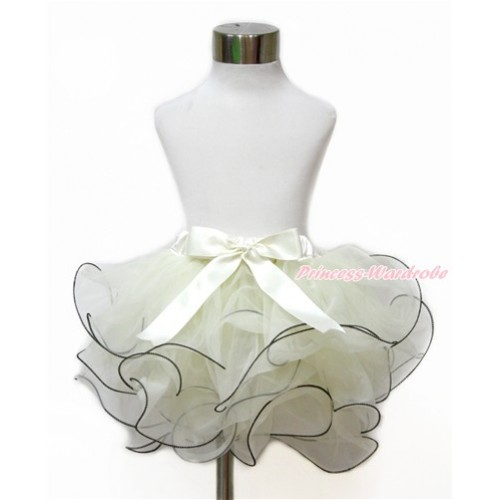 Cream White Flower Petal Full Pettiskirt With Cream White Bow B261