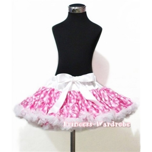 Hot Pink White Dots Adult Pettiskirt XXXL AP96