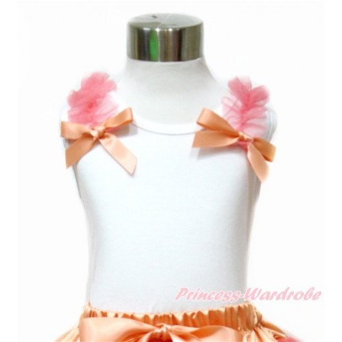 White Tank Top with Coral Tangerine Ruffles and Coral Tangerine Bow TB773