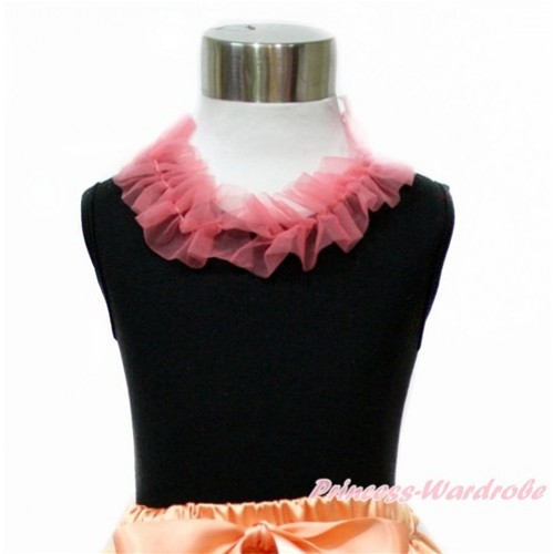Black Tank Top with Coral Tangerine Chiffon Lacing TB781