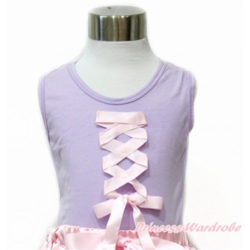 Tangled Princess Lavender Tank Top with Light Pink Ribbon Bow TN234