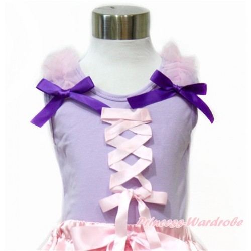 Tangled Princess Lavender Tank Top With Light Pink Ruffles & Dark Purple Bow With Light Pink Ribbon Bow TN235