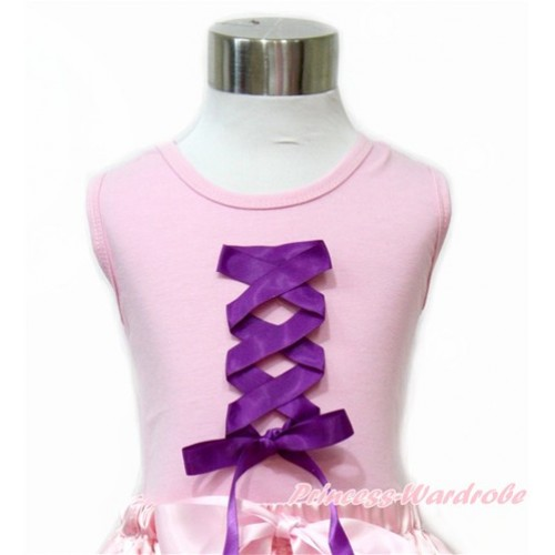 Tangled Princess Light Pink Tank Top with Dark Purple Ribbon Bow TP88