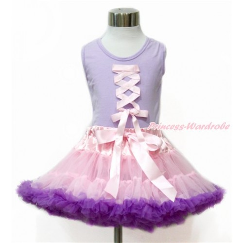Tangled Princess Lavender Tank Top With Light Pink Ribbon Bow With Light Pink Dark Purple Pettiskirt MN84