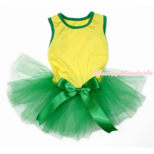 World Cup Brazil Yellow Sleeveless Kelly Green Gauze Skirt With Kelly Green Bow Pet Dress DC168
