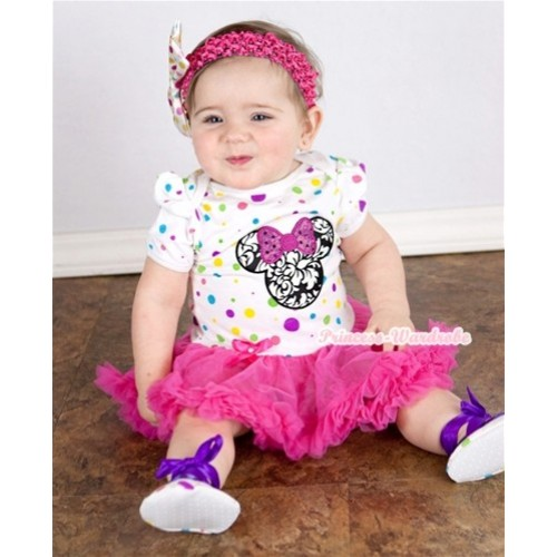 White Rainbow Dots Baby Jumpsuit Hot Pink Pettiskirt With Sparkle Hot Pink Damask Minnie Print With Hot Pink Headband White Rainbow Dots Satin Bow JS707