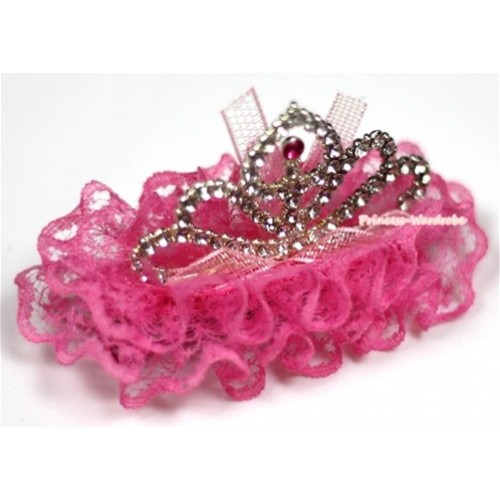 Hot Pink Lace Ruffles Rinestone Crown Hair Clip H666