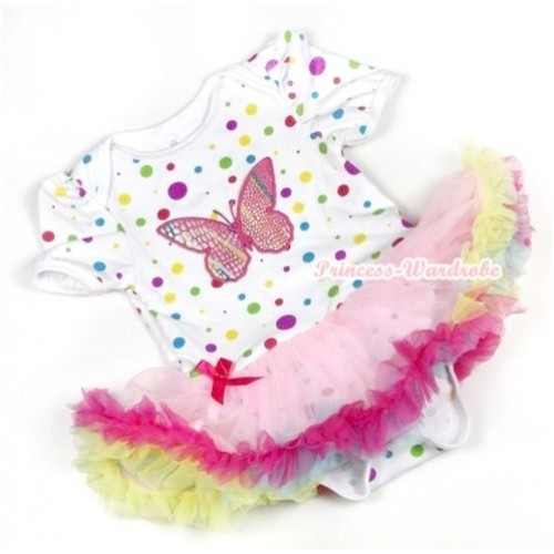 White Rainbow Dots Baby Jumpsuit Rainbow Pettiskirt with Rainbow Butterfly Print JS748