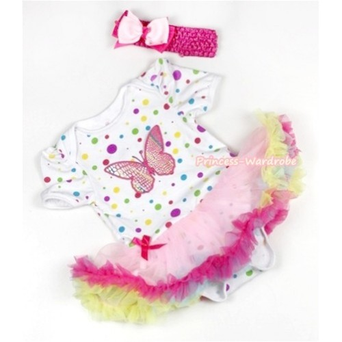 White Rainbow Dots Baby Jumpsuit Rainbow Pettiskirt With Rainbow Butterfly Print With Hot Pink Headband Light Pink Hot Pink Ribbon Bow JS801