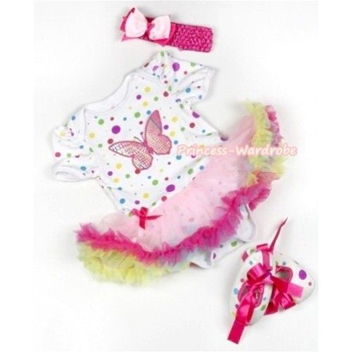 White Rainbow Dots Baby Jumpsuit Rainbow Pettiskirt With Rainbow Butterfly Print With Hot Pink Headband Light Pink Hot Pink Ribbon Bow With Hot Pink Ribbon White Rainbow Dots Shoes JS838
