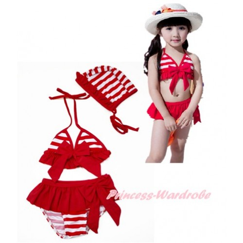 Red White Striped Bikni Swimming Suit with Swim Cap SW76