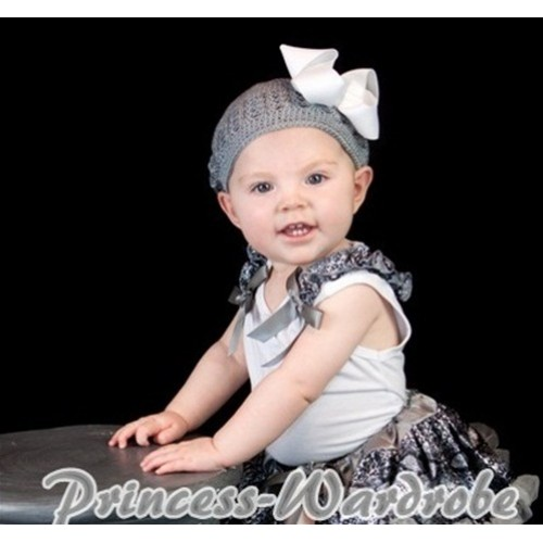 Grey Snakeskin Ruffles Grey Bow White Tank Top T348