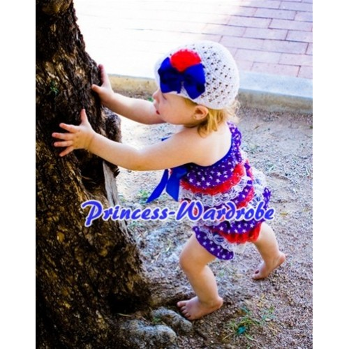 Patriotic America Red White Blue Layer Chiffon Romper with Royal Blue Bow LR68
