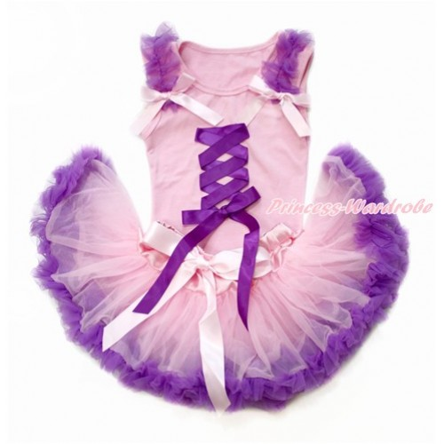 Tangled Princess Light Pink Baby Pettitop with Dark Purple Ruffles & Light Pink Bow with Dark Purple Ribbon Bow with Light Pink Dark Purple Newborn Pettiskirt BG153