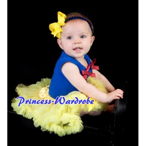 (Snow White Style)Royal Blue Baby Pettitop & Red White Dot Bows with Yellow Baby Pettiskirt BG31